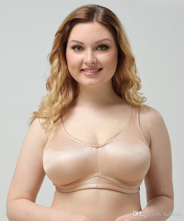 3f9a32fcf3 2019 High Quality Full Cup Wireless Satin Bra For Big Fat Women Saxy Photos  Hot Wire Free Intimates Underwear Satin Minimizer Bra From Hclhmx