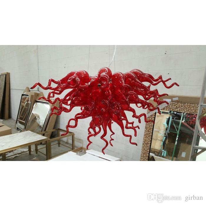 Longree Cheap Price Excellent Quality Red Blown Glass Chandelier LED Light Modern Hand Blown Murano Glass Crystal Chandelier