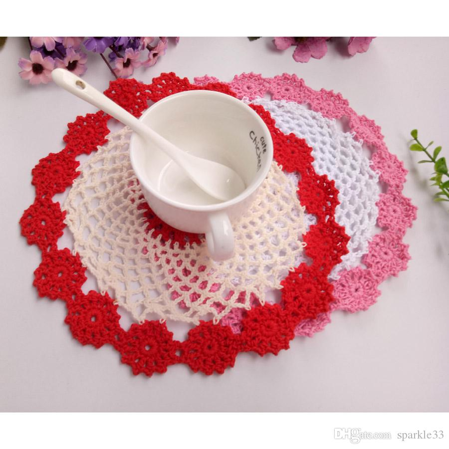Free Shipping 12pcs/lot Wholesale DIY Household Handmade Round Flower Table Mat Crochet Doilies Cup Mat 21cm Coaster shooting props Retro