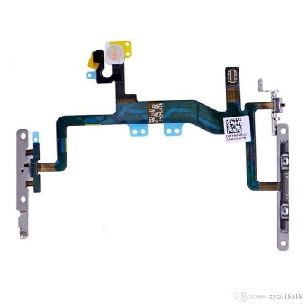 """iPhone 6s 4.7"""" 6s Artı 5.5"""" Güç Hacim Düğmesi Flex Sessiz Sessiz Düğme Şerit Flex Kablo Metal Parantez Orjinal Yeni Değiştirilmesi"""