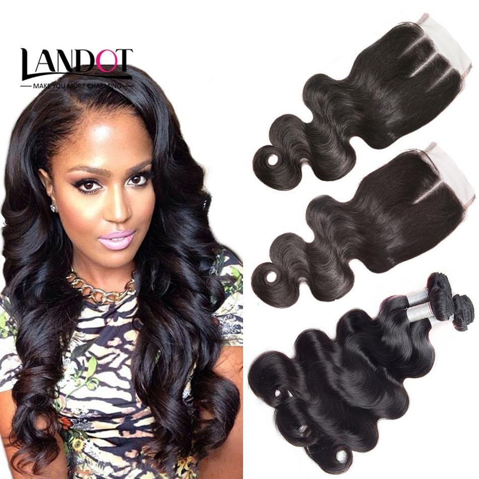 Brazilian Virgin Hair Weaves 3 Bundles with Top Lace Closure Body Wave 8A Malaysian Peruvian Indian Cambodian Human Hair Extensions Closures