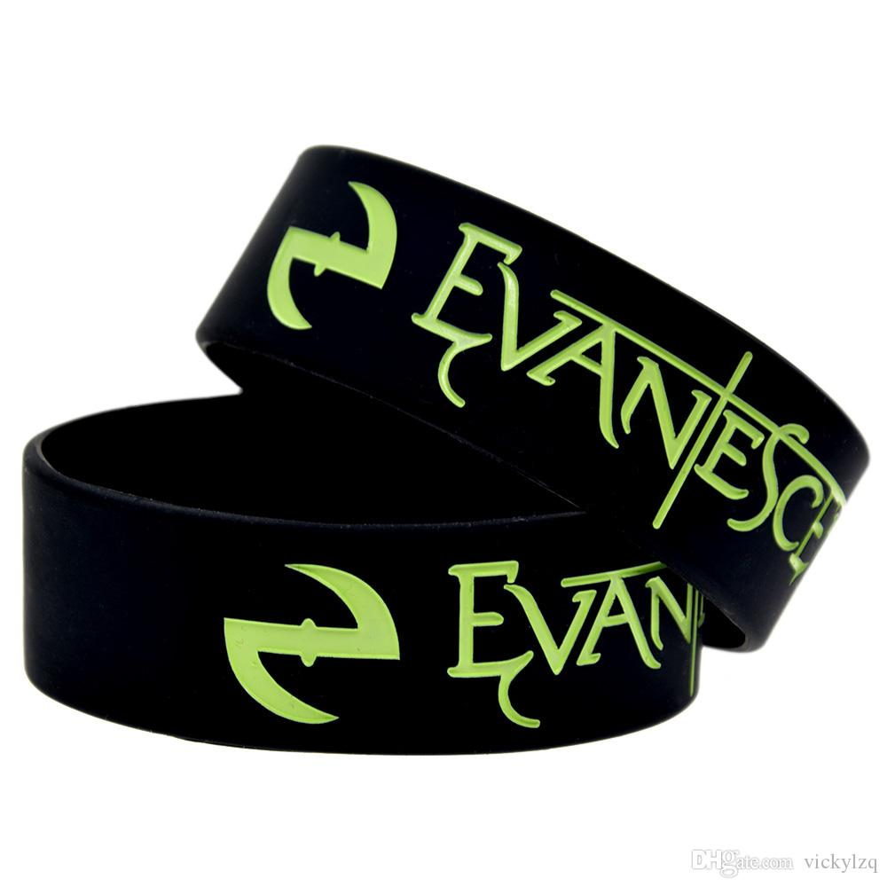 50PCS Rock Style Band Evanescence 1 Inch Wide Silicone Rubber Wristband Adult Size For Music Fans Gift