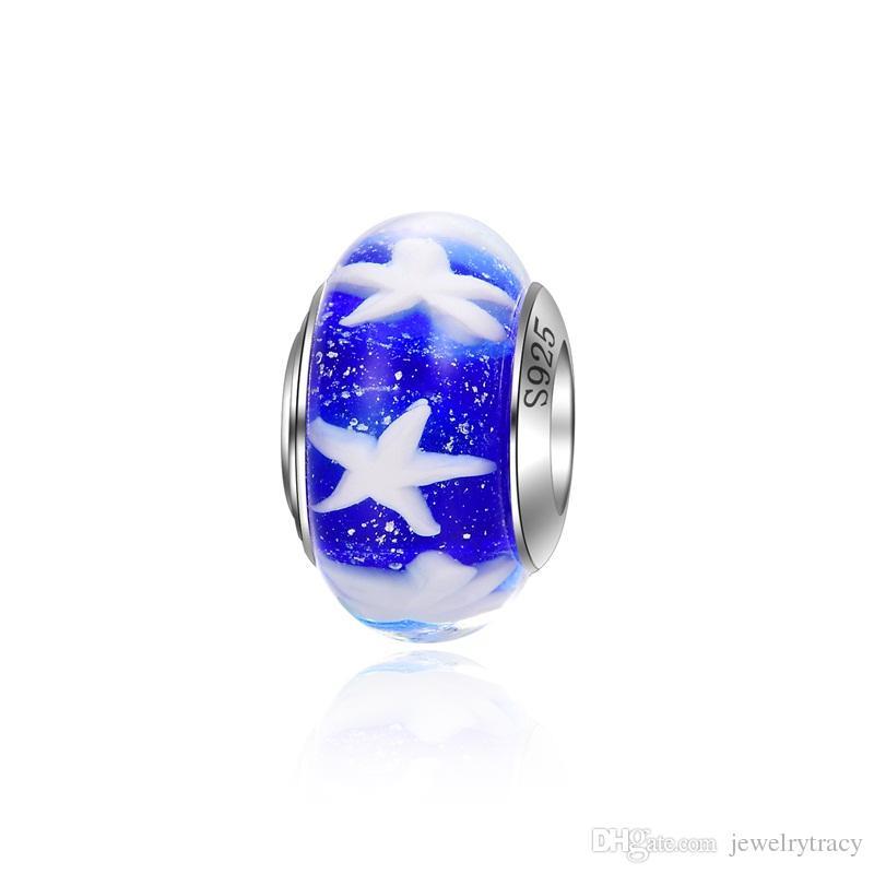 925 Silber Perlen für Pandora Armbänder Charm Perlen Blau Farbe Perlen Großes Loch Frauen Charme für Charm Snake Armbänder Halsketten