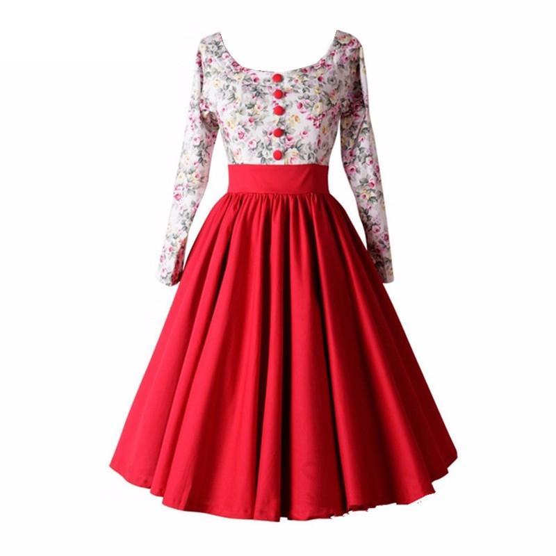 2017 패션 여름 봄 여성 긴 소매 복장 높은 허리 Vestidos 드 페 스타 로브 Femme와 꽃 빈티지 레트로 드레스