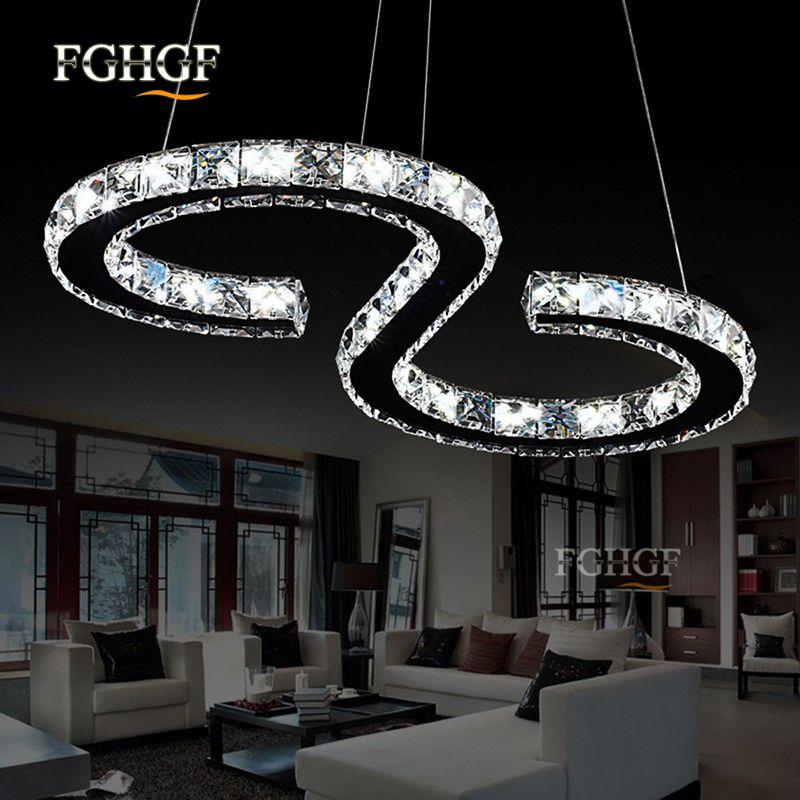 Chrom LED Decken Kristalle Lampe Leuchte Halbkreis Beleuchtung Wohn Ess Zimmer