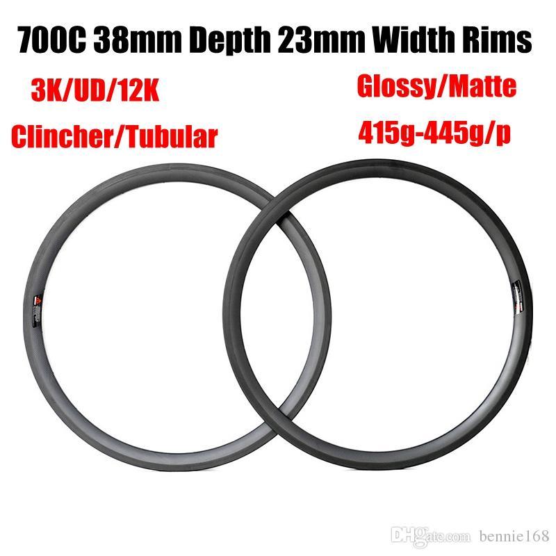 Best Sale Carbon Road Bike Rims 700C 38mm Depth 23mm Width 3K UD Matte Glossy Clincher Tubular Bicycle Rim 415g-445g 16-32 Holes