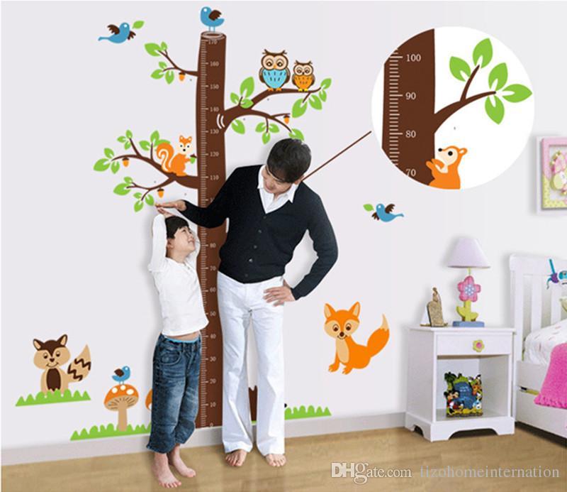scoiattoli foresta animali grafico di crescita adesivi murali per camera dei bambini decorazione del fumetto murale art home decalcomanie bambini regalo altezza misura