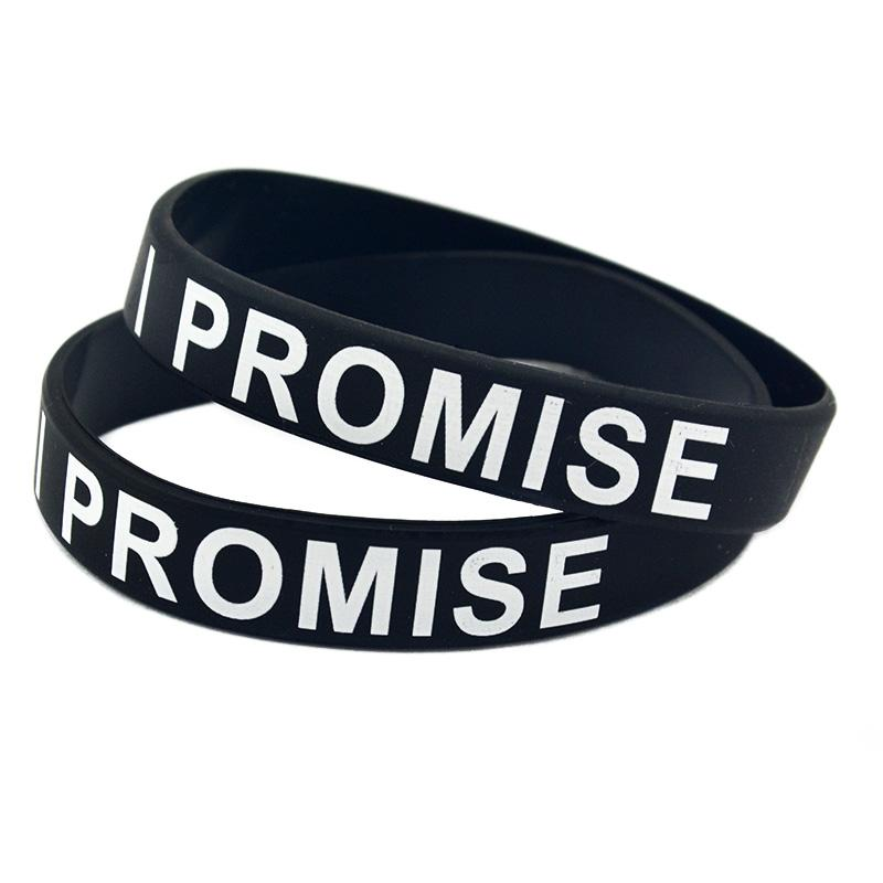 100PCS Printed I PROMISE Silicone Bracelet For Sport or Cancer Adult Size 9 Colors Promotion Gift