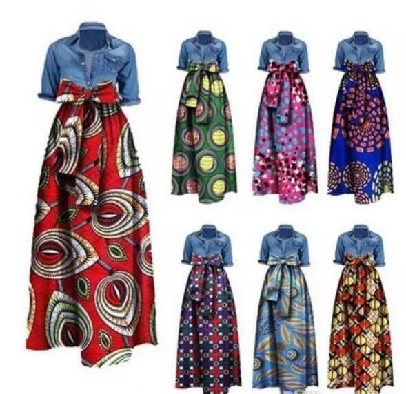 2017 새로운 여자 다시 키 드레스 패션 플러스 크기 아프리카 유명한 스타일의 프린트 롱 맥시 A 라인 스커트 바스트 스커트 빈티지 볼 가운