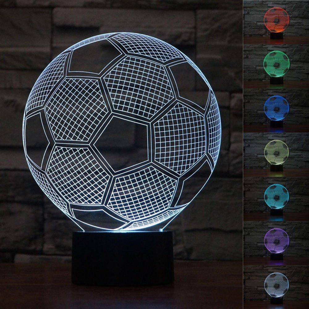 Circle Sport Soccer Football 3D Optical Illusion Lamp 7 Colors Change Touch Button and 15 Keys Remote Control LED Table Desk Night for