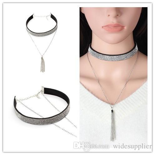 2017 Girocollo collana di velluto coreano multistrato collana nappa diamante pieno collane girocollo collare di cristallo per la signora della moda