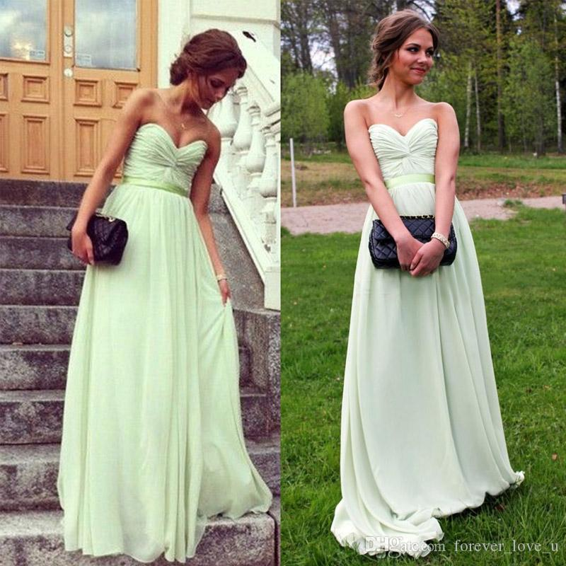 Classic Country Bridesmaid Dresses Long Formal Mint Green Ruched Chiffon Sweetheart Sleeveless Cheap Maid of Honor Gowns Custom Made