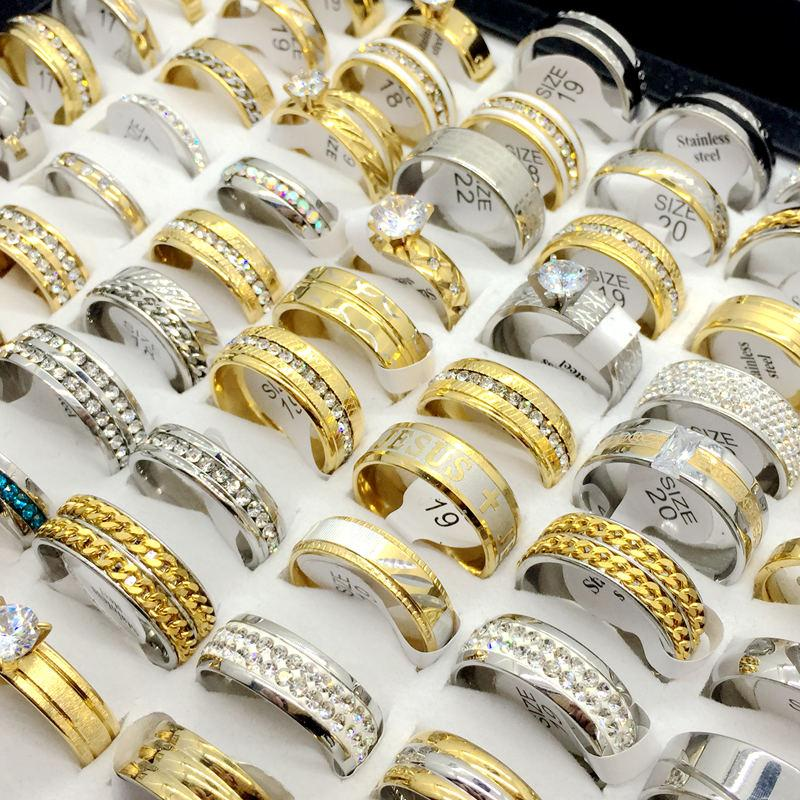 Atacado 50 pcs Lotes Top Rhinstone Zircon Placa De Prata Placa De Ouro de Aço Inoxidável Anel Para Presente de Casamento das Mulheres dos homens Anel de Jóias