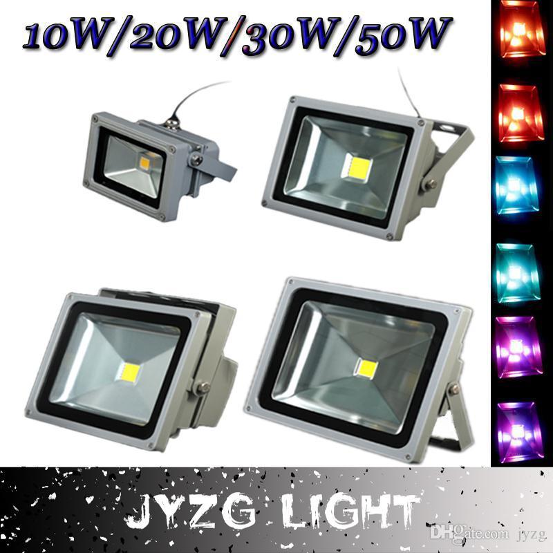 Прожекторы 10W 20W 30W 50W высокое качество IP65 водонепроницаемый AC85-265V RGB белый / теплый белый светодиодный прожектор Открытый сад лампы оптом