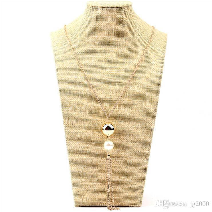 Gold Long pearl fringed necklace 2-color optional Clothing accessories necklace Fashion hanging chain Artificial Jewelry Postage free