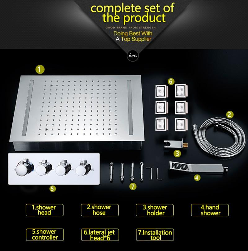 hm LED Rain Shower Set with 2 Lights with Handshower Body Jet Massage Thermostatic Mixer Bathroom Ceiling (24)