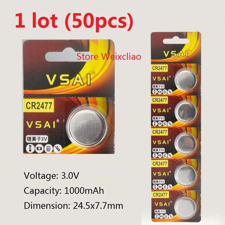 50 adet 1 grup CR2477 3 V lityum li iyon düğme hücre pil li-ion CR 2477 3 Volt para piller VSAI Ücretsiz Kargo