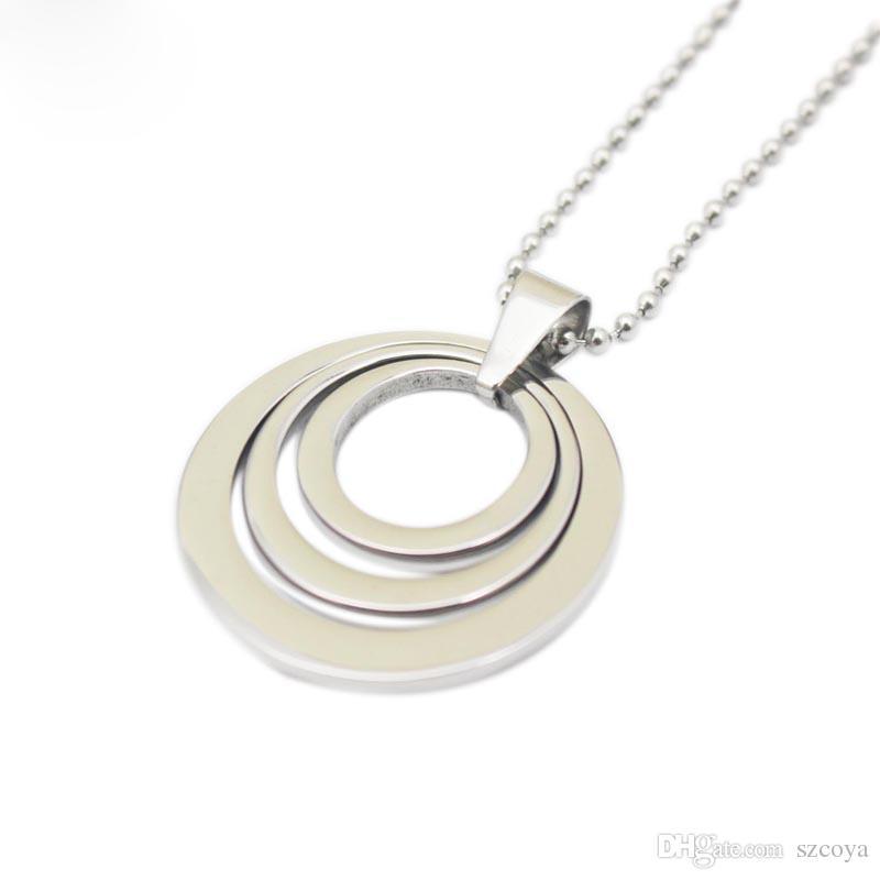 Collana di ciondoli in argento opale a forma di cerchio con ciondolo a forma di grande gioiello fatto a mano con medaglione galleggiante per ragazza con collane a catena all'ingrosso