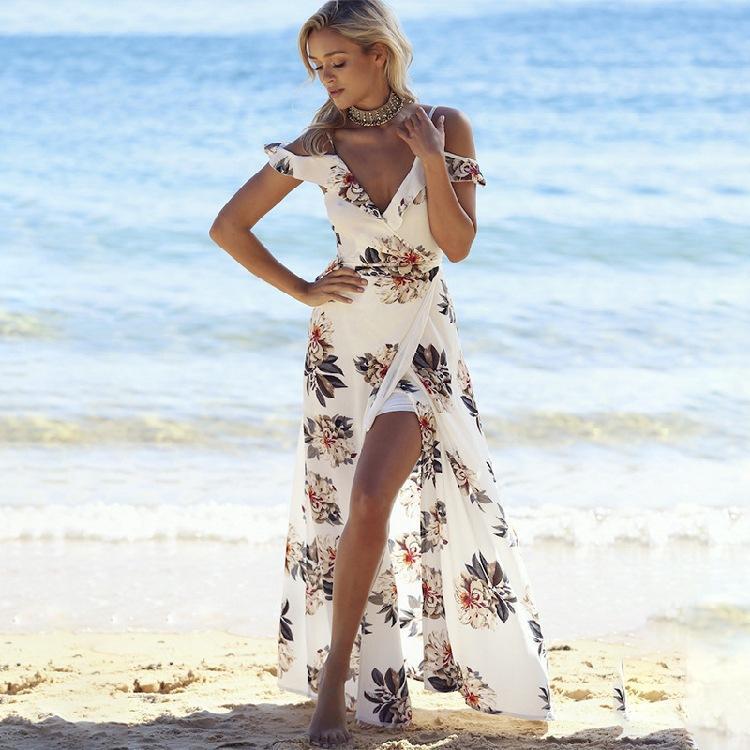 MAYFULL Marca estampado Floral volantes fuera del hombro gasa vestido largo sin espalda 2017 vestidos maxi vestidos de playa blanca dividida vestido de verano