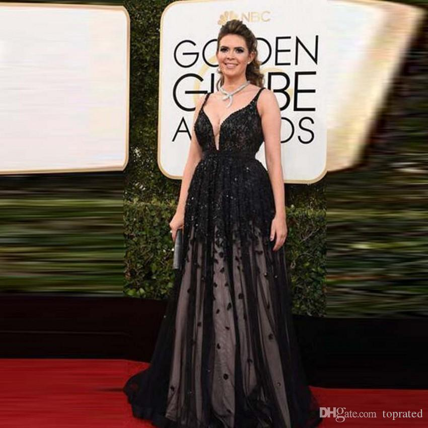 25f3ecf734 Plus Size Sexy Black Evening Dresses The Red Carpet Dresses Deep V Neck  Formal Party Dress Celebrity Golden Globe Award Prom Gowns 2017