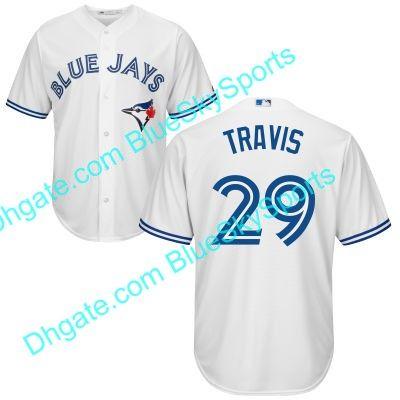 toronto blue jays jersey 29 devon travis white blue red cool base flexbase stitched baseball jerseys .