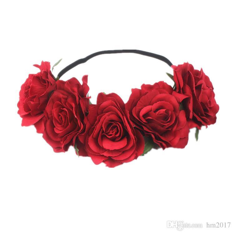 1 개 여성 신부의 웨딩 꽃 머리띠 보헤미안 스타일 인공 꽃 탄성 헤어 밴드 소녀 화환 헤어 액세서리