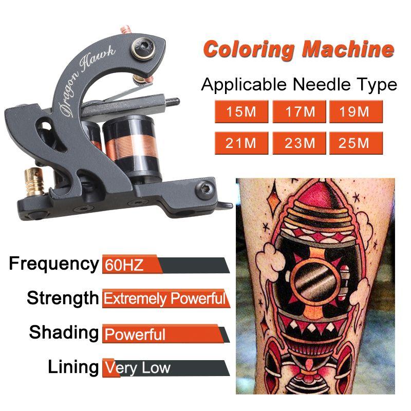 Nuova macchina tatuaggio professionale permanente tatuaggio permanente pistola shader macchina da colorare pistola da colorare 10 avvolgimenti bobina pistola wq4662