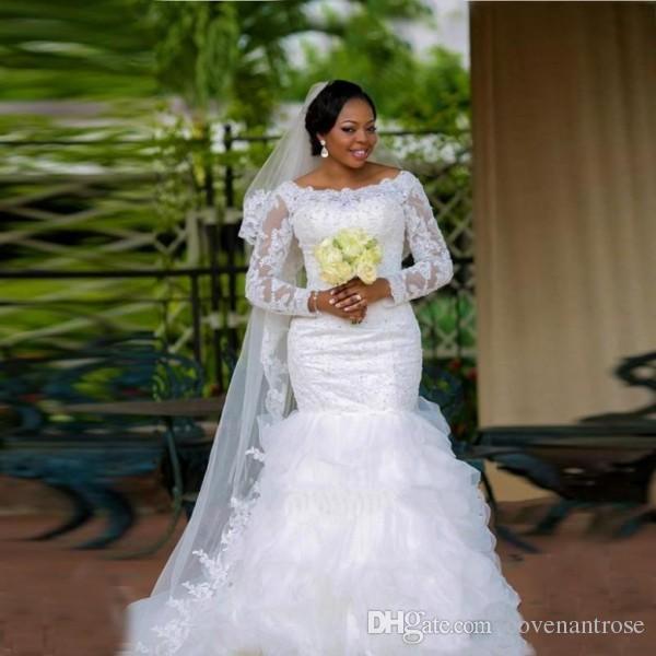 Modesto árabe más el tamaño de vestidos de novia 2017 encaje sexy Sheer ver a través de sirena vestidos de novia con manga larga con volantes de organza trouwjurk