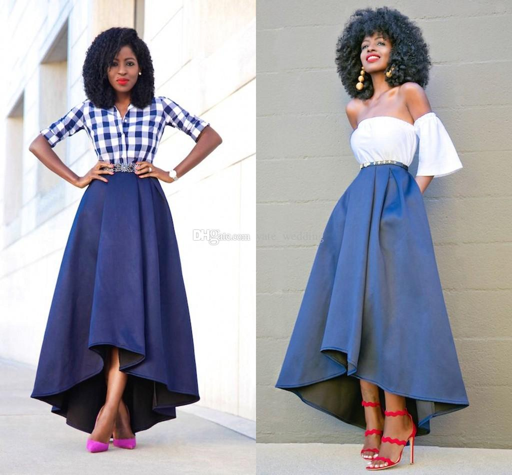 2017 Grateful High Low Women Skirts High Waist Satin Lined Fashion ...