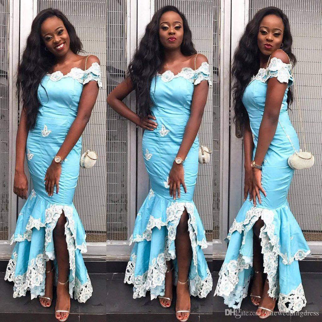 Light Sky Blue Evening Gowns With White Lace Applique Off Shoulder Mermaid Party Gowns Aso Ebi Back Zipper Custom Made Formal Occasion Gowns