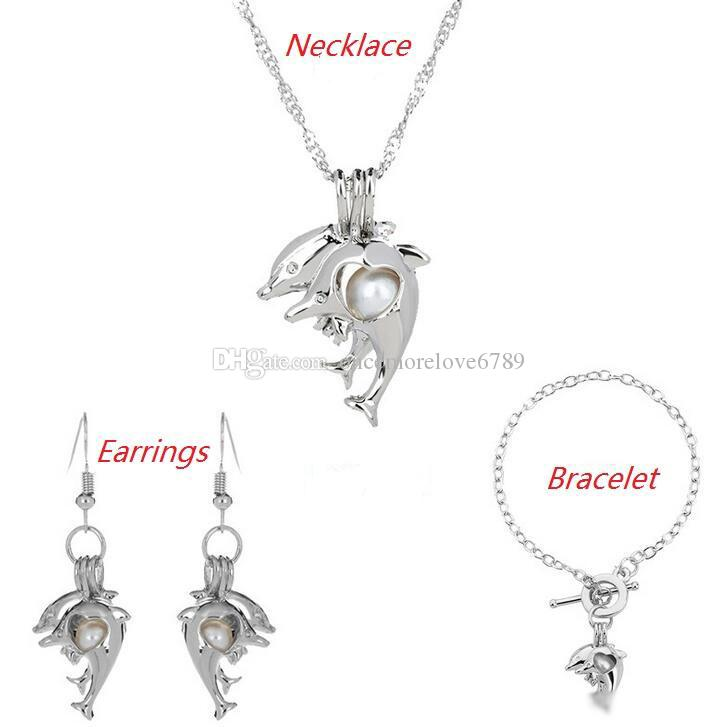 Love Wish Pearl Cages Locket Jewelry Sets Hollow Dolphin Freshwater Pearls Oyster Pendant Bracelet Earrings Necklace(Excluding Pearl Canned)
