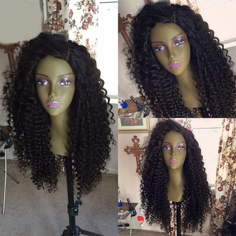 Pelucas rizadas del cabello humano de Malasia Pelucas rizadas del frente del cordón pelucas del cabello humano para las mujeres negras Pelucas llenas del frente del cordón de la Virgen con el pelo del bebé