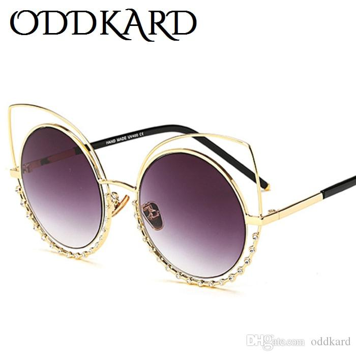 ODDKARD Sleek Fashion Premium Crystal Sunglasses for Men and Luxury Designer Cat Eye Sun Glasses Oculos de sol UV400