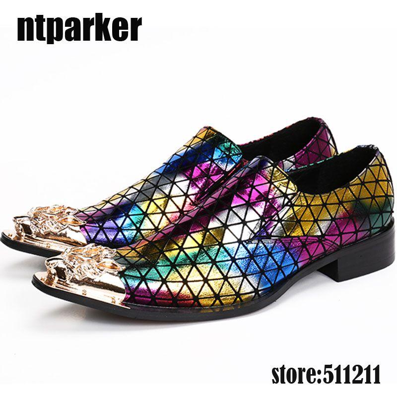 New Fashion in acciaio dorato con punta a punta scarpe eleganti da uomo colori misti scarpe oxford per uomo scarpe da ballo in vera pelle Chaussures Hommes
