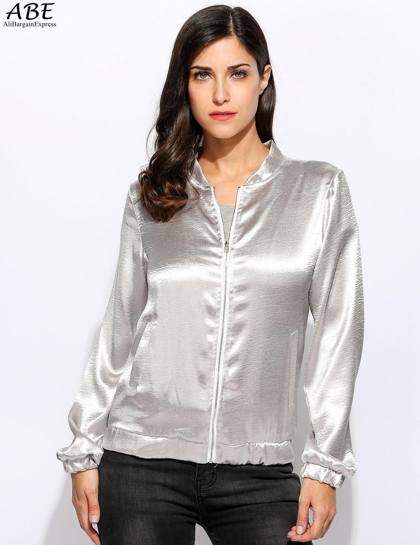 Atacado- novas mulheres gola manga comprida zíper jaqueta de prata sólida casacos casacos