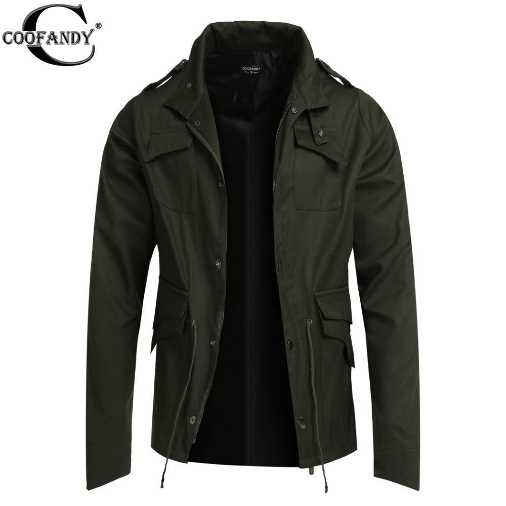 Wholesale- COOFANDY 자켓 코트 WinterSpring Fashion Mens 트렌치 코트 슬림 블랙 남성 자켓 아우터 캐주얼 윈드 브레이커 EZ