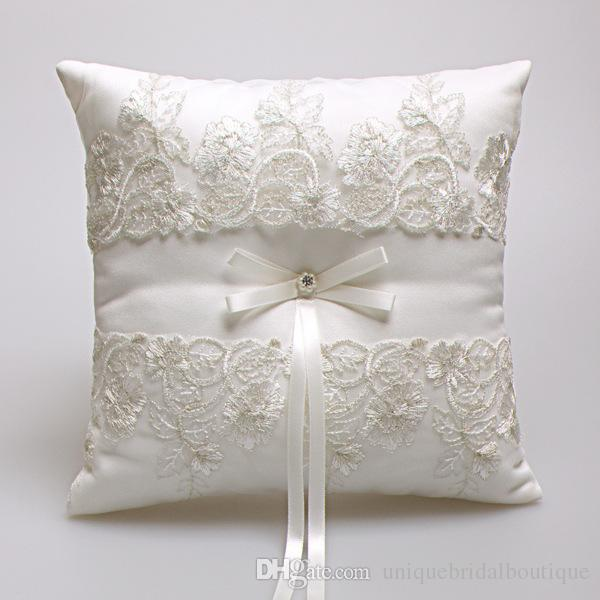 2020 2019 New Wedding Ring Pillows Beige Satin Lace Ring Bearer