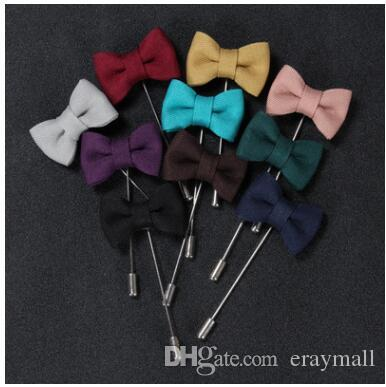 Fashion bowknot brooches pins mens suit cloth corsages brooch for wedding party christmas gifts many colors