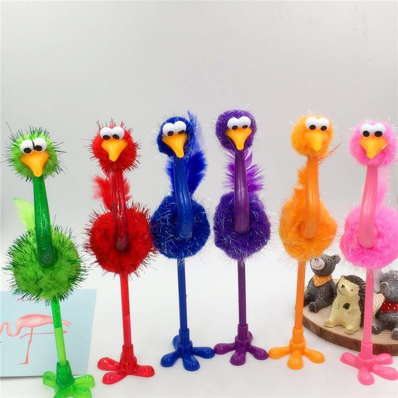 Desenhos animados avestruz caneta caneta bola colorida avestruz artesanato caneta escola primária de papelaria dom dom prêmio estudante atacado