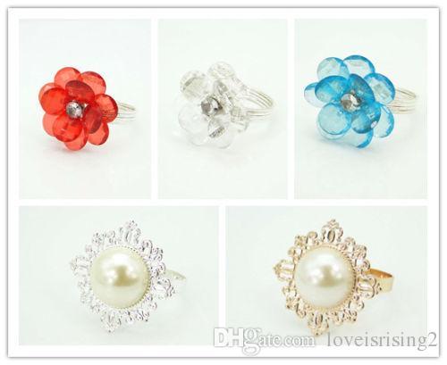 Envío gratuito-5 estilos Upick 50 unids PearlAcrylic flor Estilo Vintage servilleta anillos boda nupcial ducha servilleta titular