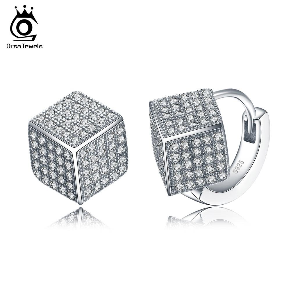 ORSA Solid 925 Sterling Silver Earrings for Women Fashion Jewerly Stud Earring with Square Shape Shiny Austrian CZ SE22