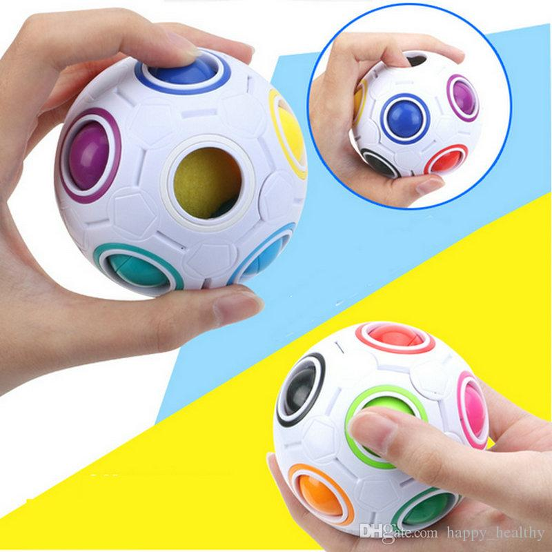 50PCS Rainbow Ball Magic Cube Speed Football Fun Creative Spherical Puzzles Kids Educational Learning Toys games for Children Adult Gifts