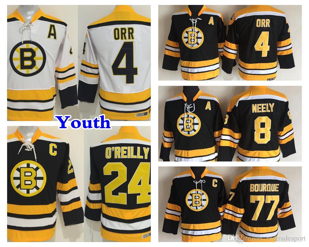 Gençlik Retro Boston Bruins Hokey Jersey 8 Cam Neely 4 Bobby Orr 77 Ray Bourque 24 Terry O'Reilly Çocuklar Vintage CCM Siyah Formalar