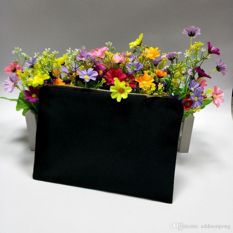 Zip Color 12oz толстые пользовательские черные косметические макияж сумка подкладка золота 6 * 9in черный свободный золотой длительный прочный холст холст сумка с кораблем и цвет STDNM