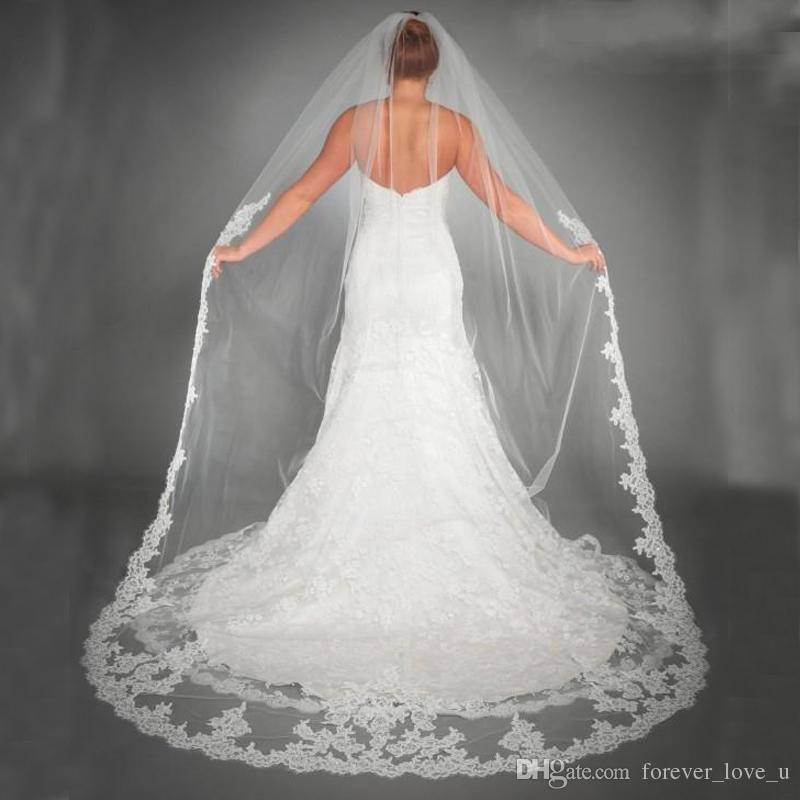 Oszałamiająca Gorąca Sprzedaż Piękne White Tulle Welony Bridal Akcesoria Bridal Koronkowe Aplikacje Krawędź Długi Bridal Miękki Tulle na Wesele