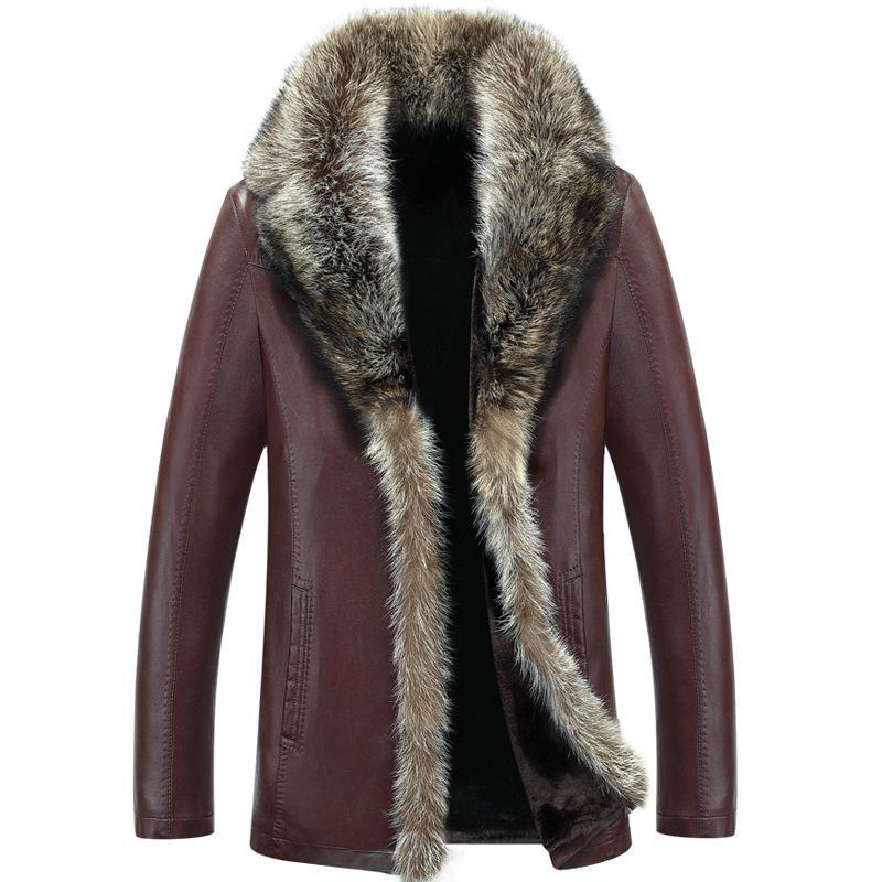 Venta al por mayor- 2017 Hombres chaqueta de cuero Faux Lambswool Hombres chaqueta de cuero grueso cuello de piel de mapache Jaqueta Couro masculino más el tamaño 5XL