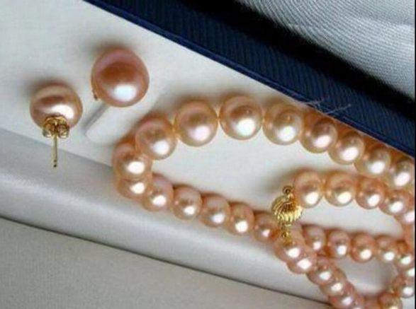 Venda por atacado - 9-10mm Natural Pink Pearl 14K colar 18inch + brincos de presente