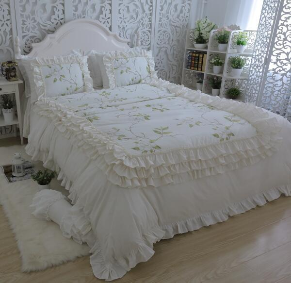 Korean Princess Luxury Lace Beige White Flowers Cotton Twill Ruffles 4  Layer Bedding Sets Pillowcase, Bed Skirt Duvet Cover Bedroom Comforter Set  ...