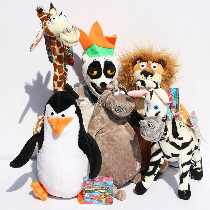 NEW Madagascar Plush Toys Madagascar Lion Giraffe Penguin Zebra Hippo Cute Gift for Kids Boys (6pcs/Lot / Size : 25-30cm )