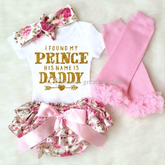 Baby girl 4pcs Clothing Sets Infant INS Romper + floral shorts + Headband + leggings Set I Found My Princess His Name is Daddy K041